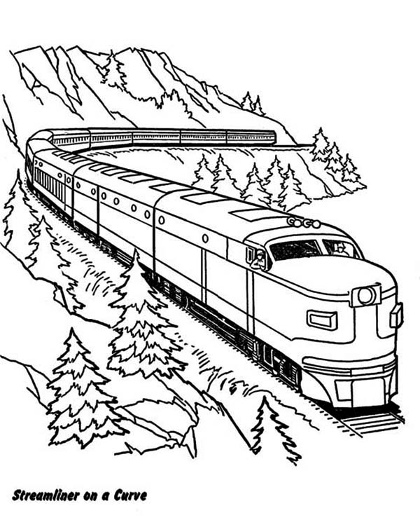 Streamliner On A Curve Railroad Coloring Page Color Luna Train Coloring Pages Coloring Pages Valentines Day Coloring Page