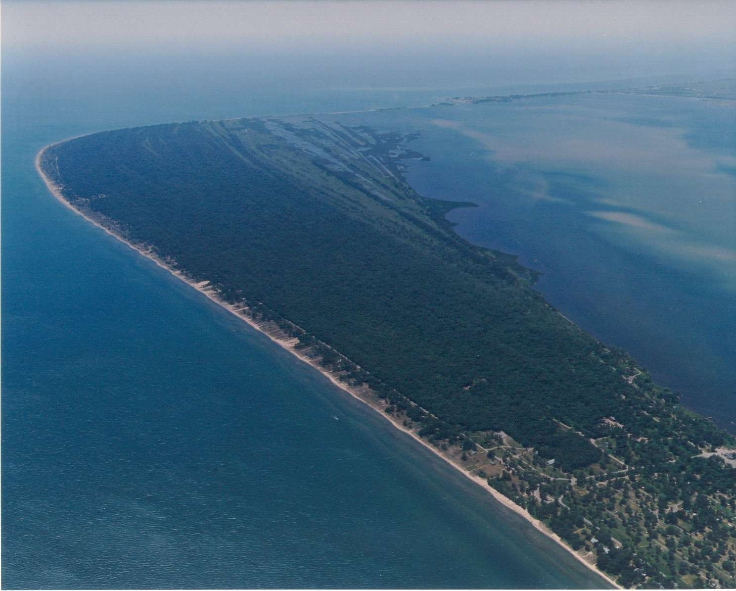 Aerial view of Rondeau Provincial Park in the ChathamKent