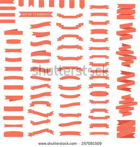 Vector set of 75 ribbons. Modern flat icons in stylish colors. Icons for Web and Mobile Application. EPS 10. - stock vector