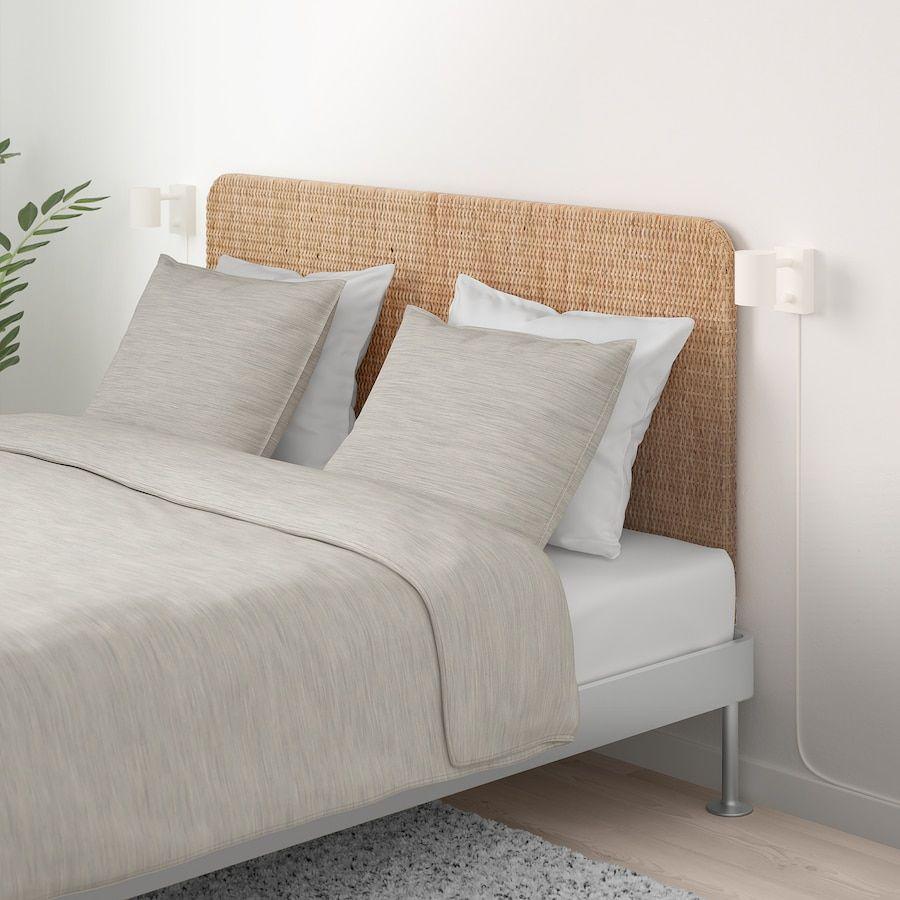 Cuscini Per Testata Letto Matrimoniale Ikea.Delaktig Struttura Letto Con Testiera Alluminio Rattan 160x200