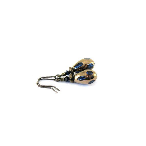 Copper Blue Earrings Czech Glass Antique Copper by CinLynnBoutique, $17.00