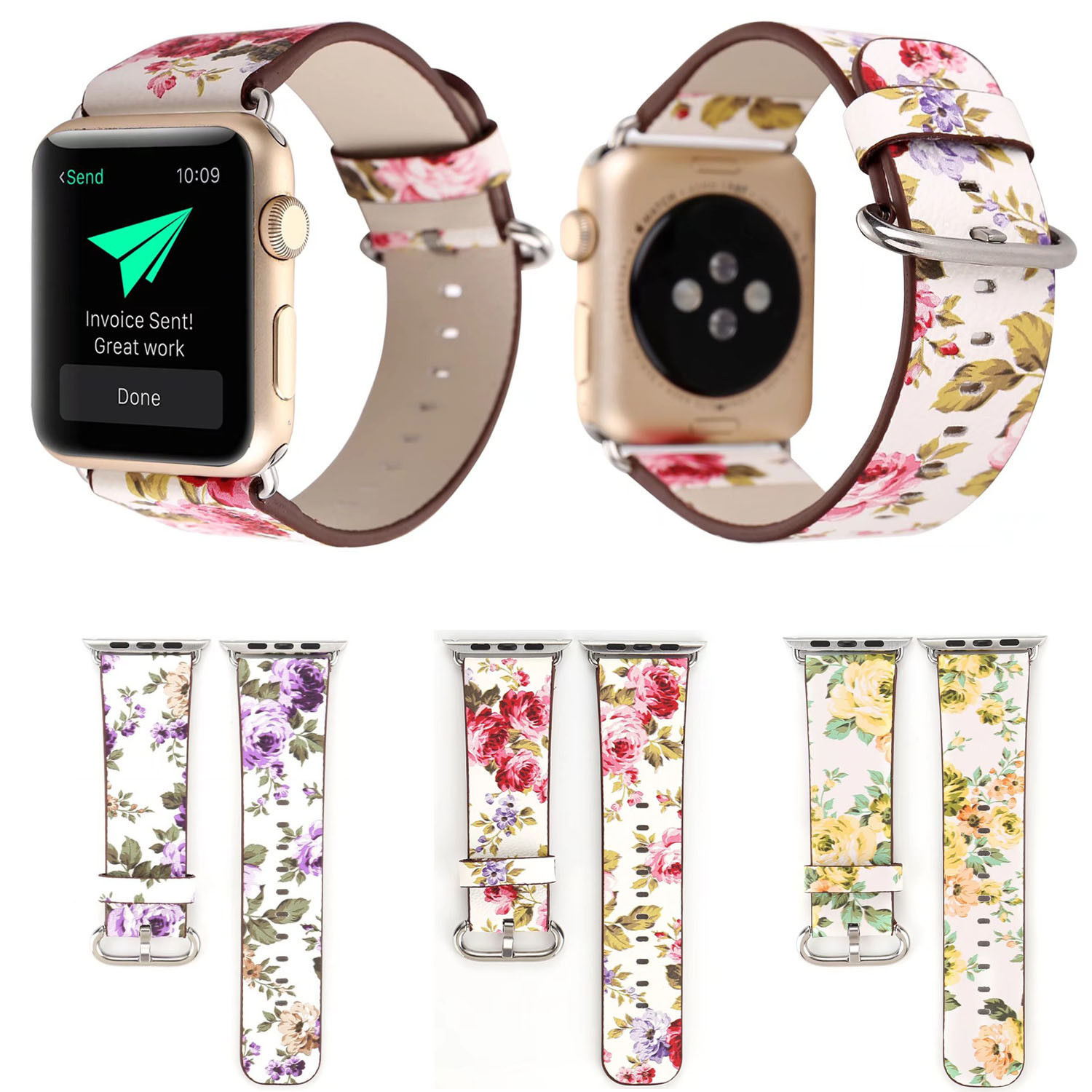 Floral Genuine Pu Leather Strap Watch Band Bracelet For Apple Watch Series 3 2 1 Ebay Fashion Leather Wristbands Apple Watch Leather Watch Bands