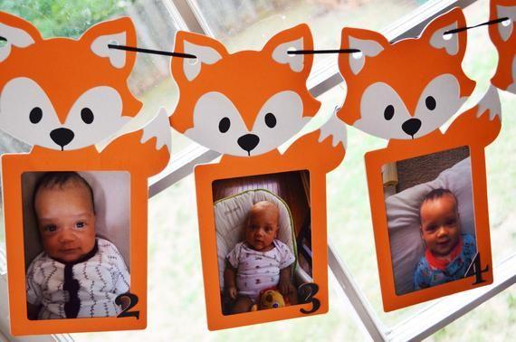 Ähnliche Artikel wie 0-12 Fox Foto Banner - erste Jahr Foto Banner - Fox Party Dekorationen - Fox Party Dekoration auf Etsy #boybirthdayparties