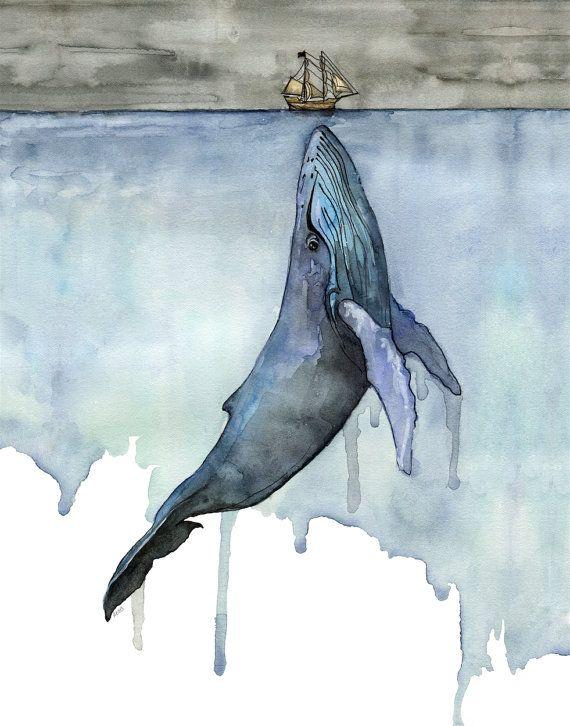 """Wal-Malerei, Aquarell, Wal Druck, Wal und Boot, Wal-Kunst, Wal-Kindergarten, Buckelwal, Druck mit dem Titel, """"Fathoms Below"""""""