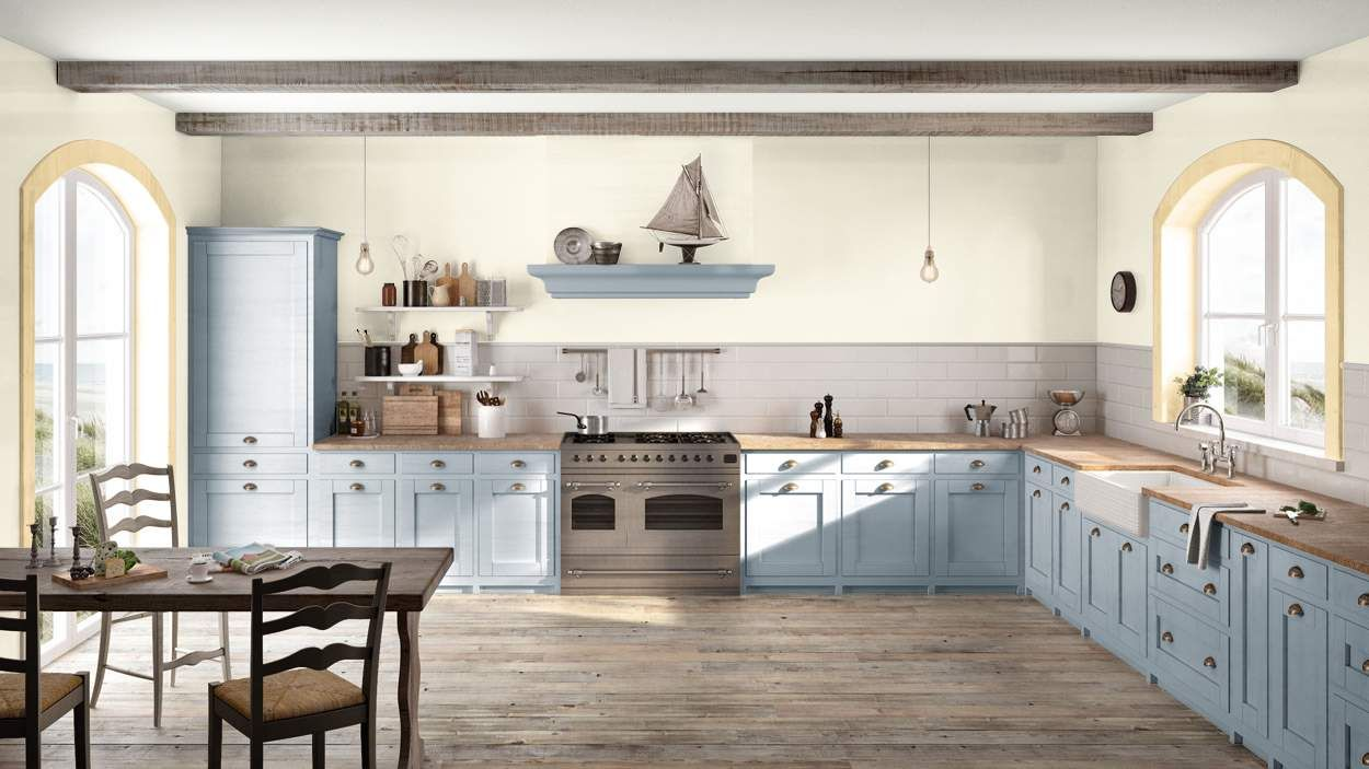 I created this Coastal Cottage kitchen using Design By What Matters by Benjamin Moore. What's your design personality? #BenjaminMoore #DBWM #DBWMSweeps