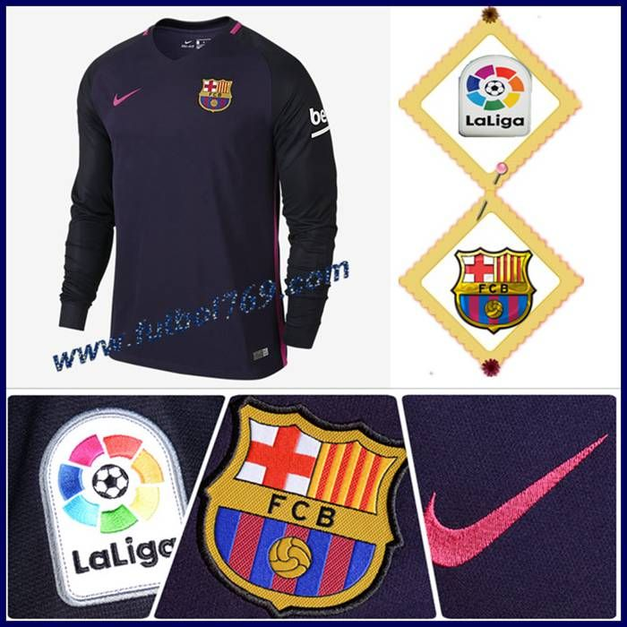 Replicas Camiseta Del Barcelona Manga Larga Alternativo Violeta 2016 2017 Personalizada
