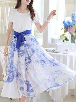 Blumendruck A-Linie Kurzarm Chiffon Elegantes Kleid ...