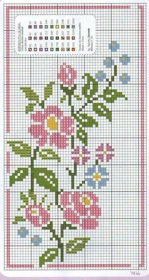 Flores Punto De Cruz Pequenas Imagui Com Imagens Ponto Cruz
