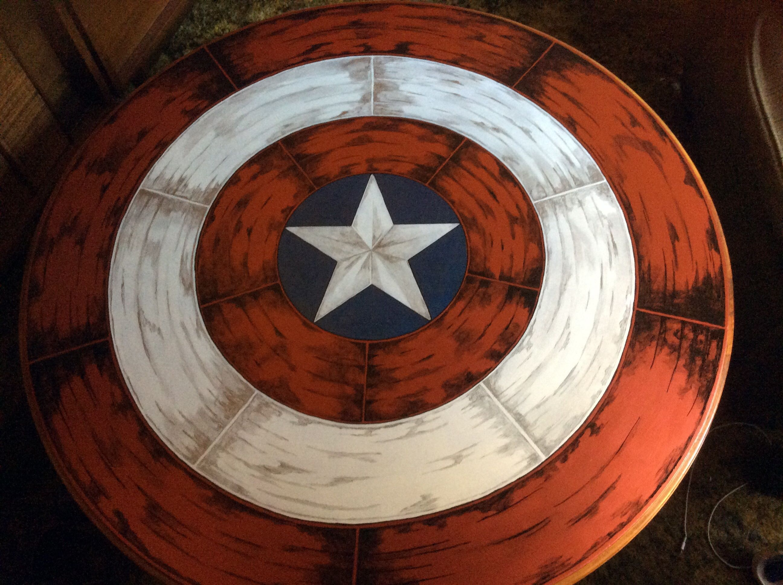 I Painted An Old Coffee Table With The Captain America
