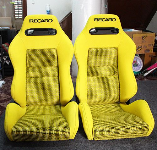 2 Original Recaro Sr3 Tomcat Yellow Seats Racing Honda