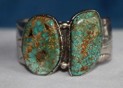 Signed-Navajo-LEE-BENNETT-Turquoise-Sterling-Silver-Mens-Cuff-Bracelet-Vintage