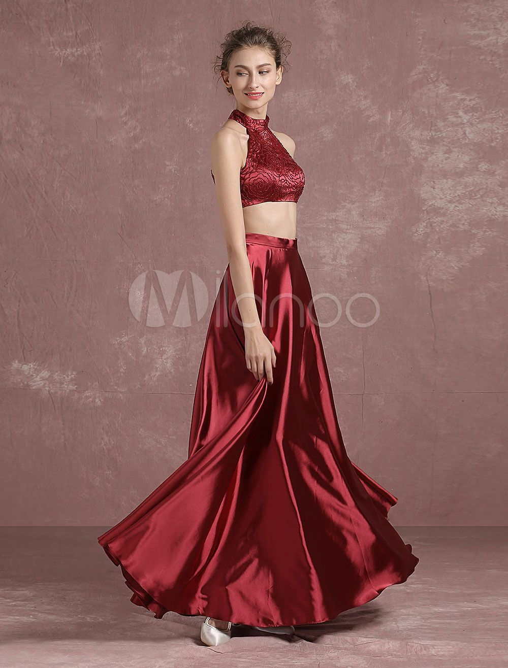 Two piece prom dress long burgundy crop top halter beaded