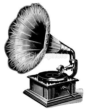 Antique Engraving Of An Early Gramophone Click Desenhos Vintage