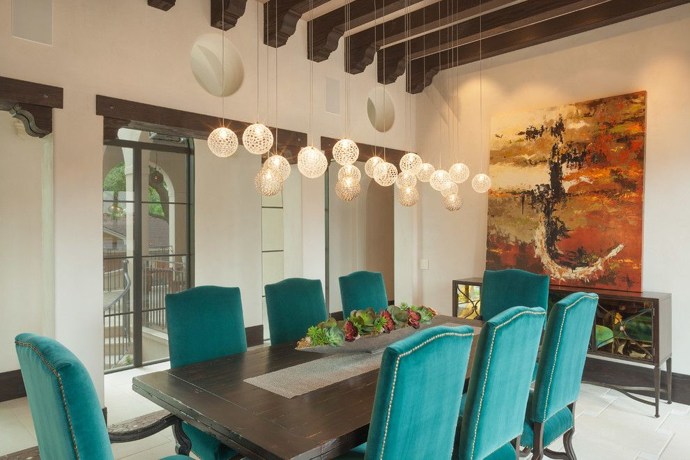 Contemporary Pendant Lighting For Dining Room Cool Mercury Glass Pendant Light Dining Room Mediterranean With Beamed Decorating Design