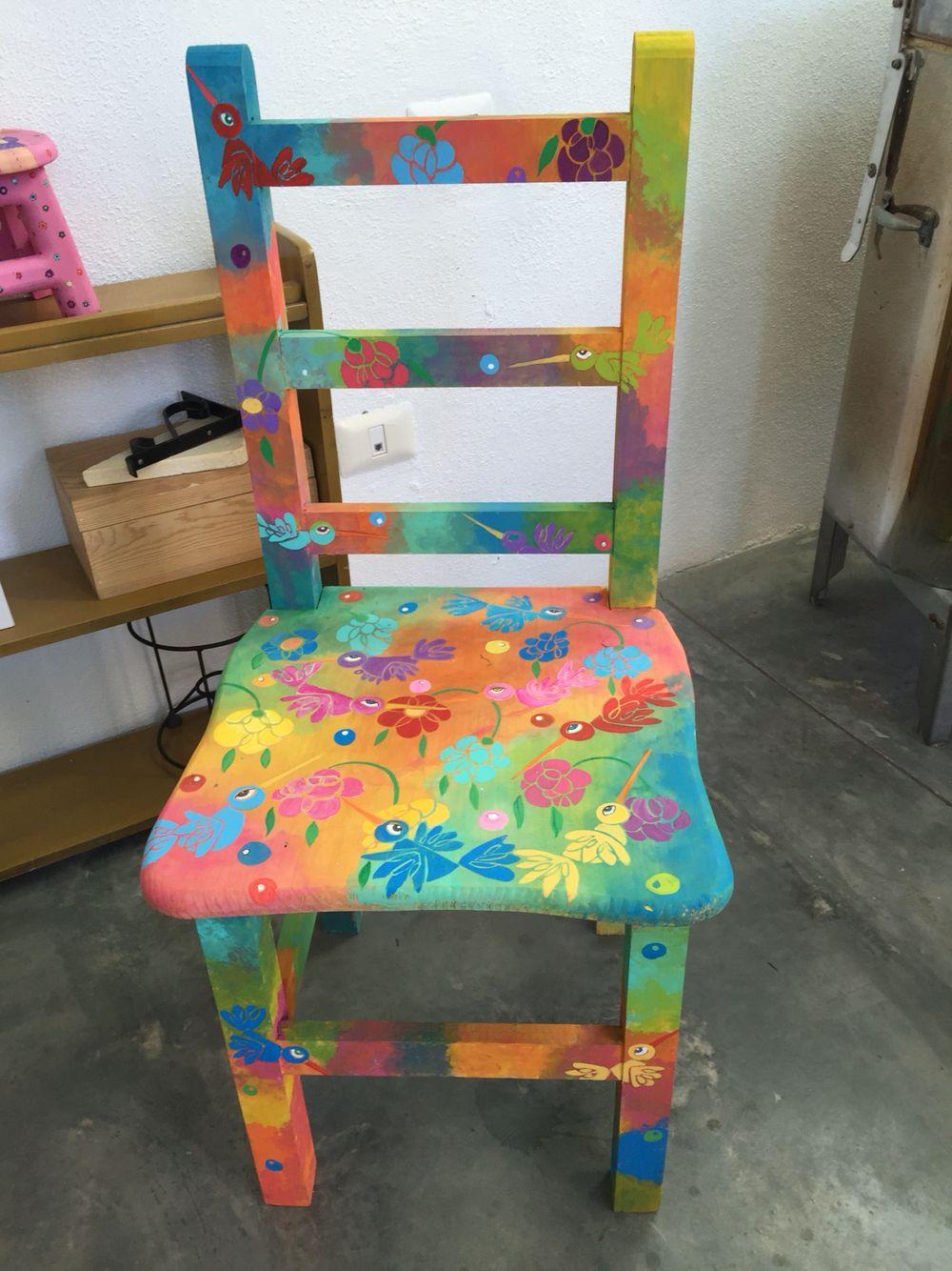 Silla pintada a mano raquel rojas arte pinterest - Pintar sillas de madera ...