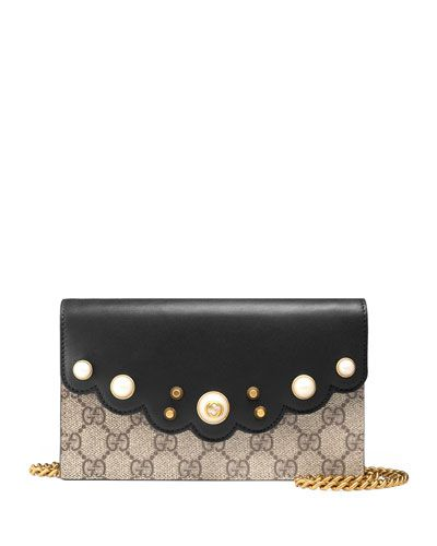 8474bdf1039 GUCCI Peony Gg Supreme Pearly Mini Wallet-On-Chain, Beige/Ebony/Nero. #gucci  #bags #shoulder bags #wallet #canvas #leather #accessories #