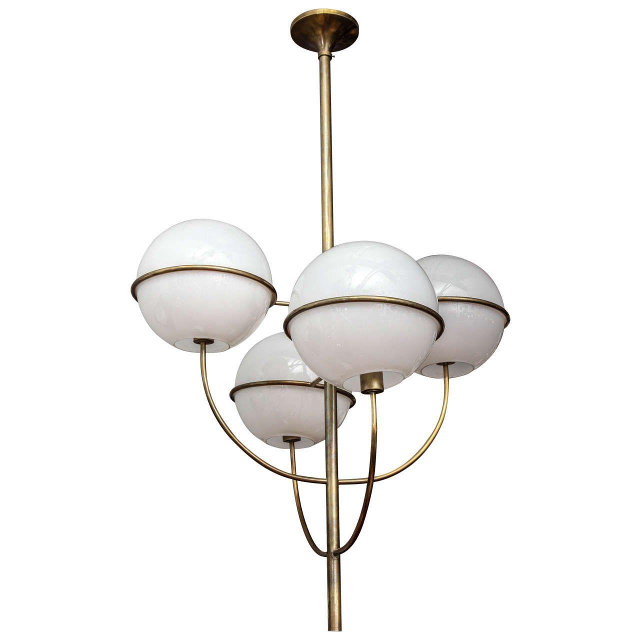 Grand Mid Century Modern Four Globe Chandelier By Gino Sarfatti 1