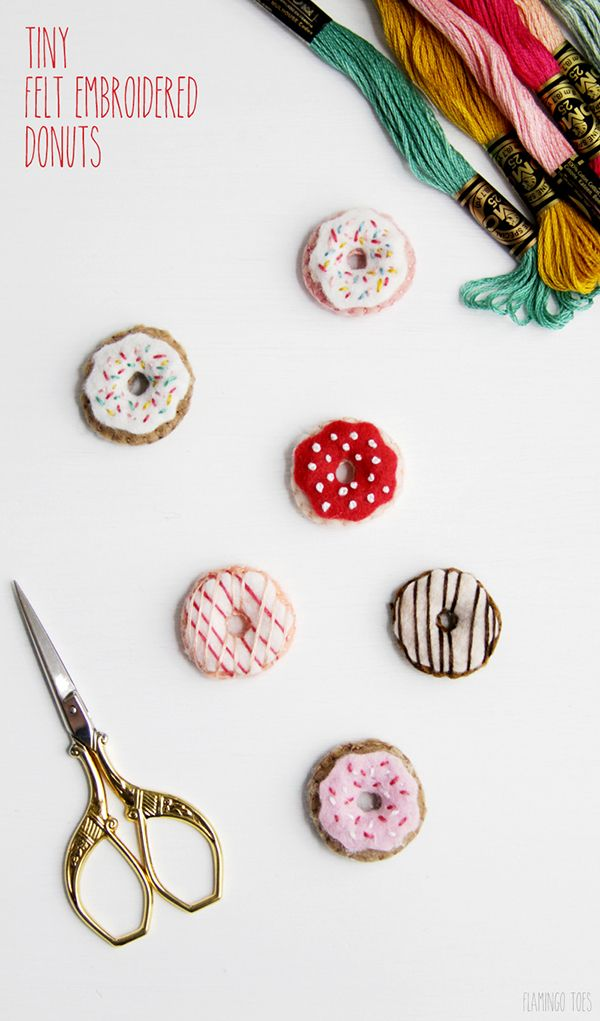 Had to visit Flamingo Toes once again because I think everyone needs these crazy ADORABLE Tiny Felt Embroidered Donuts…they are a quick and easy craft…just grab your needle and pretty thread and go crazy! There are so many things you can use these for…I personally am going to use them as magnets and thumb tacks …