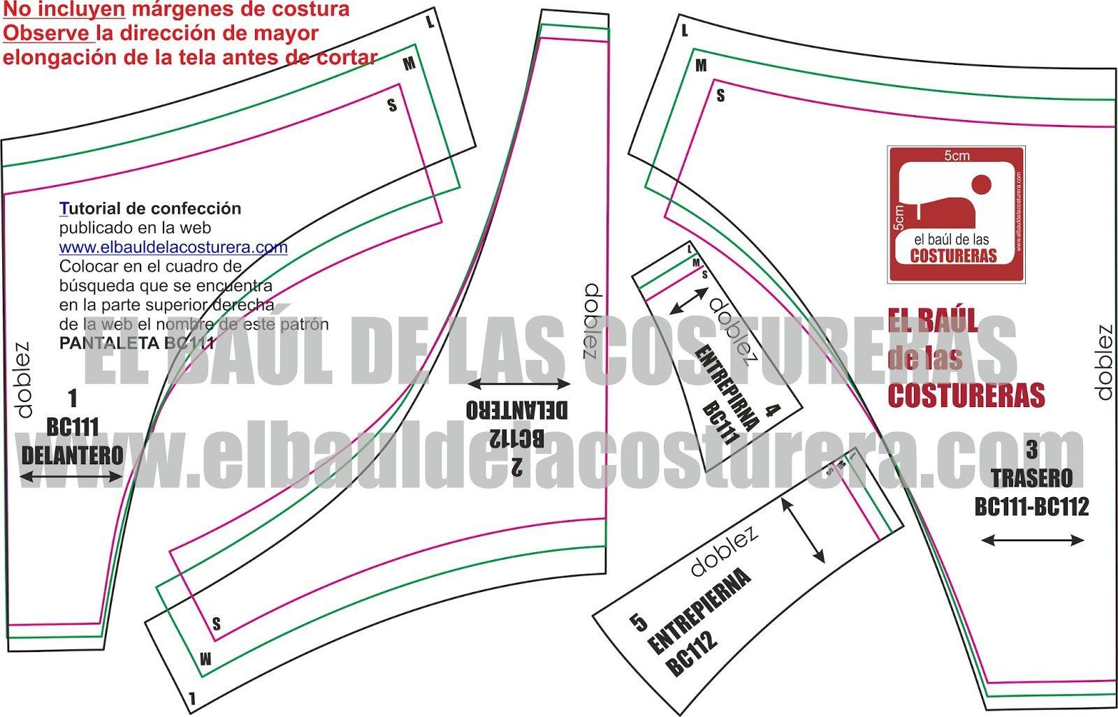 Pantaleta Bikini BC111 BC112 | Patrones de costura, Bikinis y Patrones