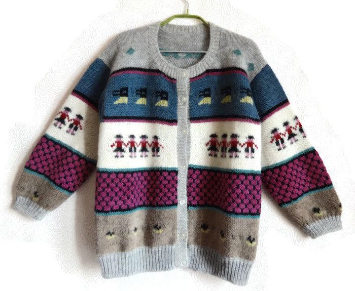 bb6e1af36 Vintage Peruvian Cardigan Alpaca Wool Knitted Cardigan Fashion 80s ...