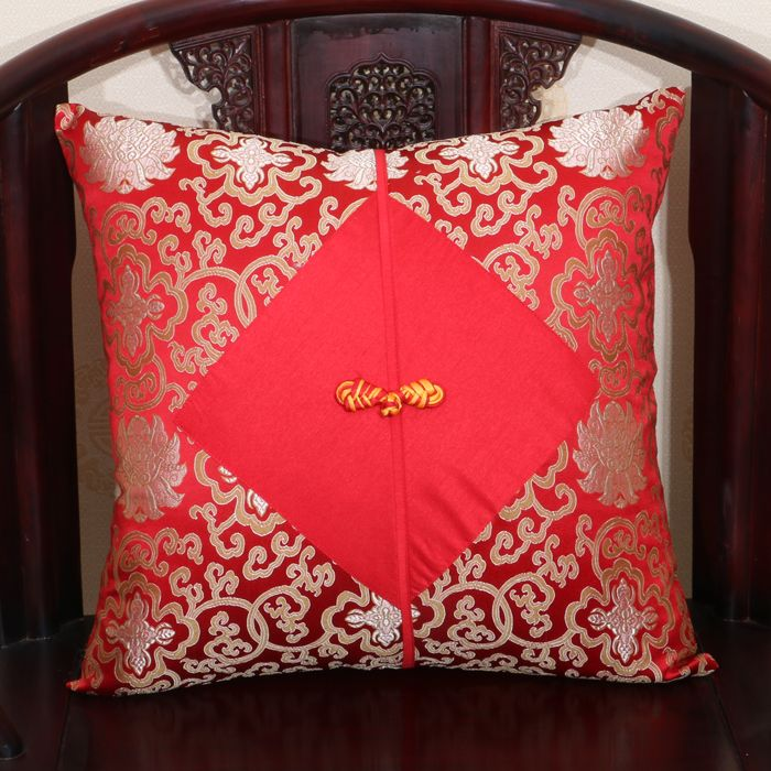 Large Chinese Knot Pillow Cushion Cover Sofas Seat Chairs Decorative Lumbar  Pillow Sets Damask Fabric Bedside