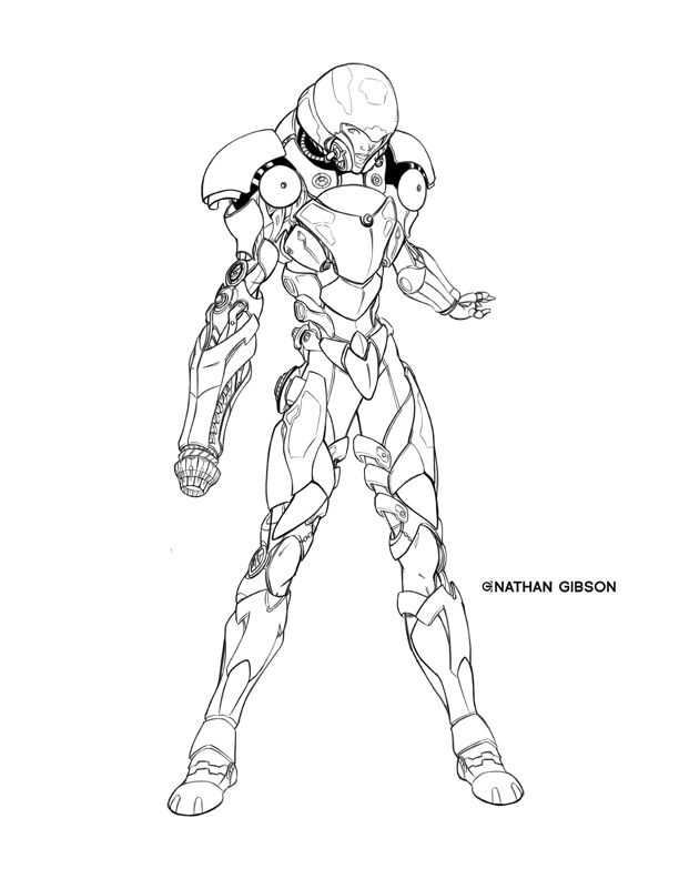 Varia Suit Lineart By Transbot9 On Deviantart Metroid Samus
