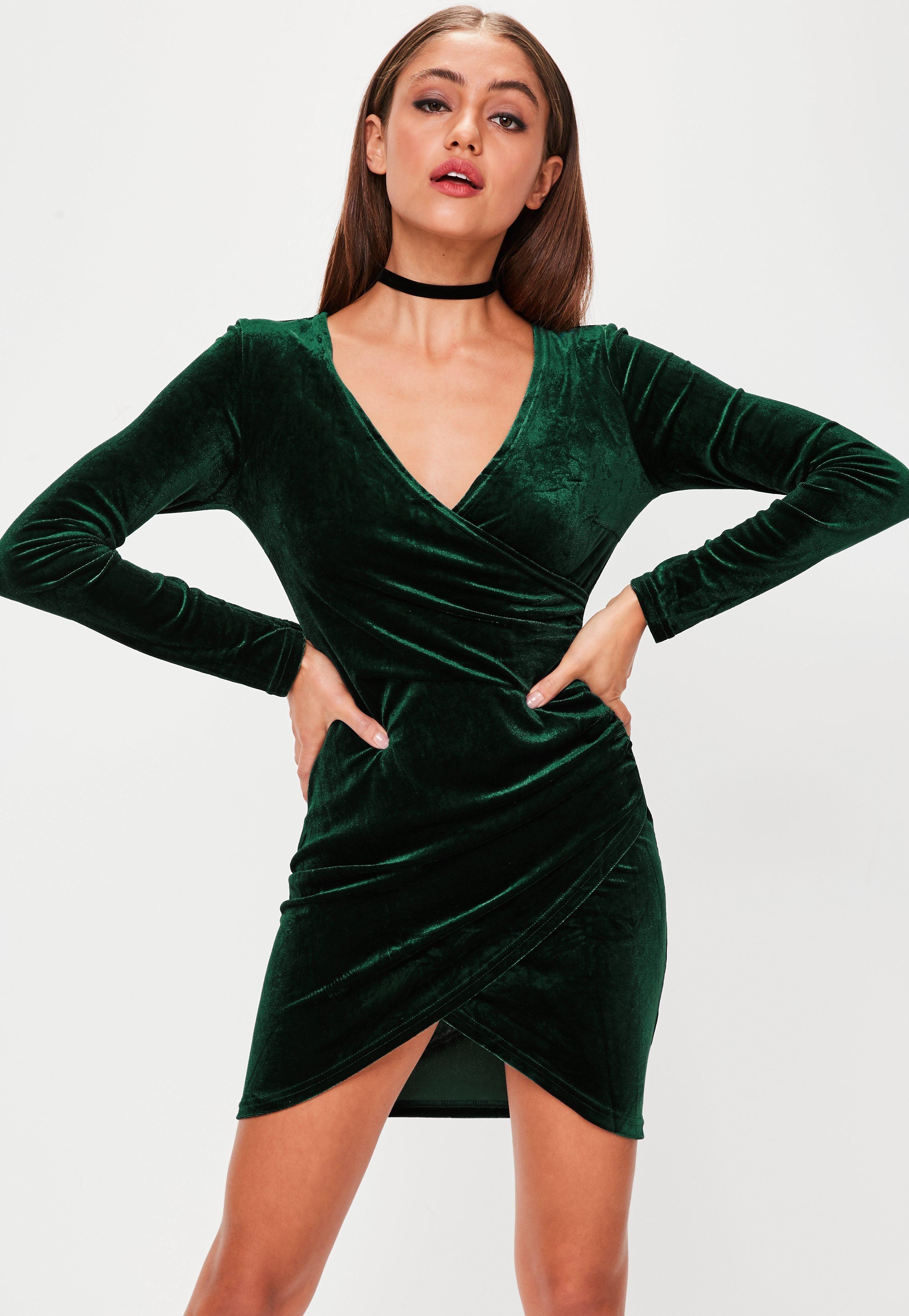 bafa1a7432 Green velvet dress with overlapped V neckline