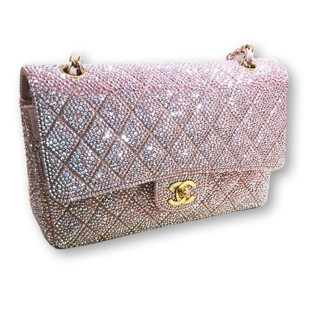 afdcd8ffa9ce Swarovski Crystal Covered Chanel Purse-Handbag-Mulberry Rose