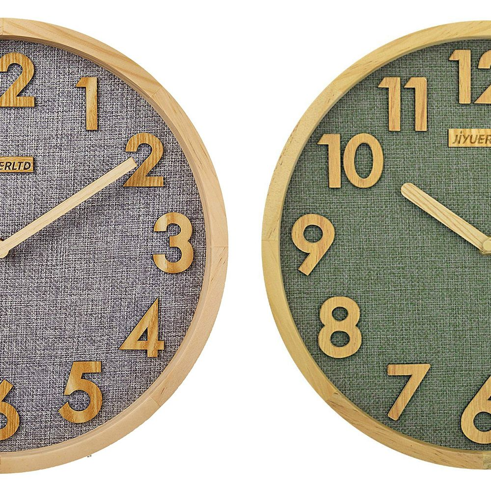 12 Inch Silent Wall Clock Kitchen Clock Wood Frame With Linen Face Clock For Home Office Classroom Kitchen Clocks Wall Clock Kitchen Wall Clocks