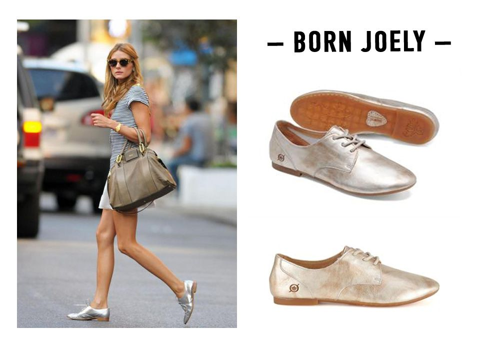 the oxford gets a hit of girly in this metallic shade (add skirt.) Get this look with the Born Joely in Panna Cotta