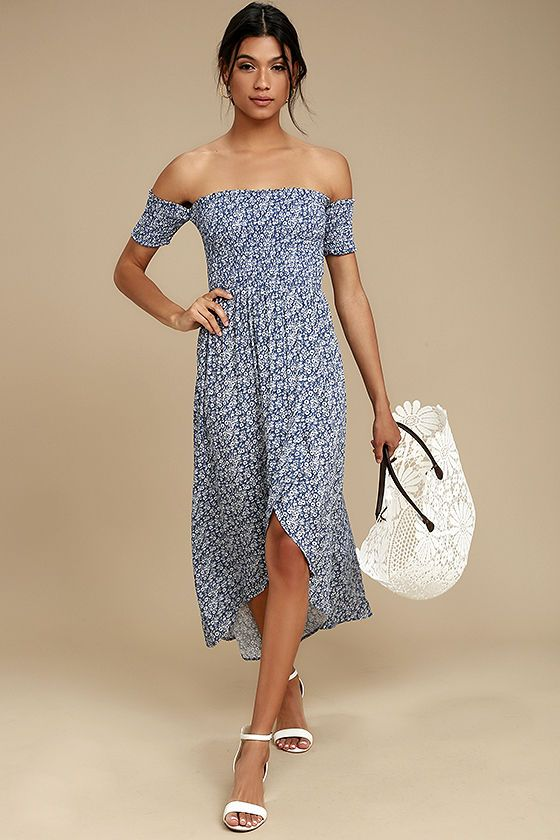 c04e66fcf682 Sunny days call for a picnic in the park with the Lucy Love Tranquility Blue  Floral Print Off-the-Shoulder Dress! Dainty blue and white floral print  covers ...