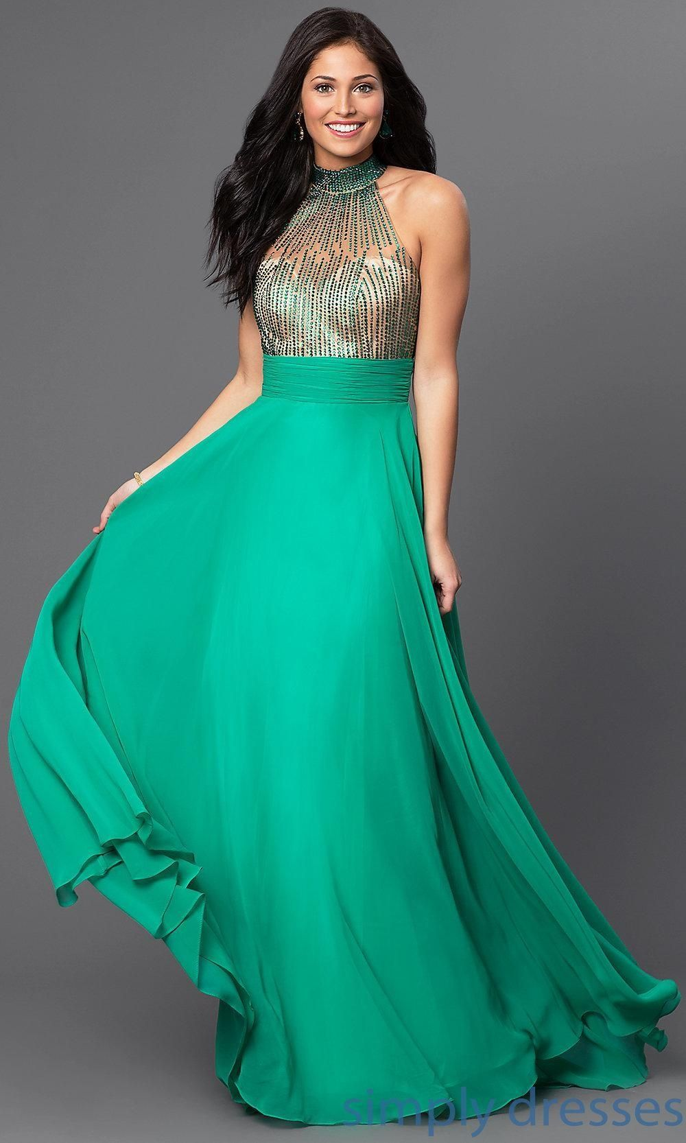 Beaded high neck long green open back sweetheart dress by dave and