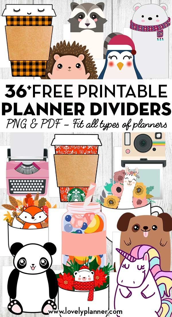 36 Free Printable Planner Dividers/Die-Cuts to Decorate Your Planner - Undated - Lovely Planner