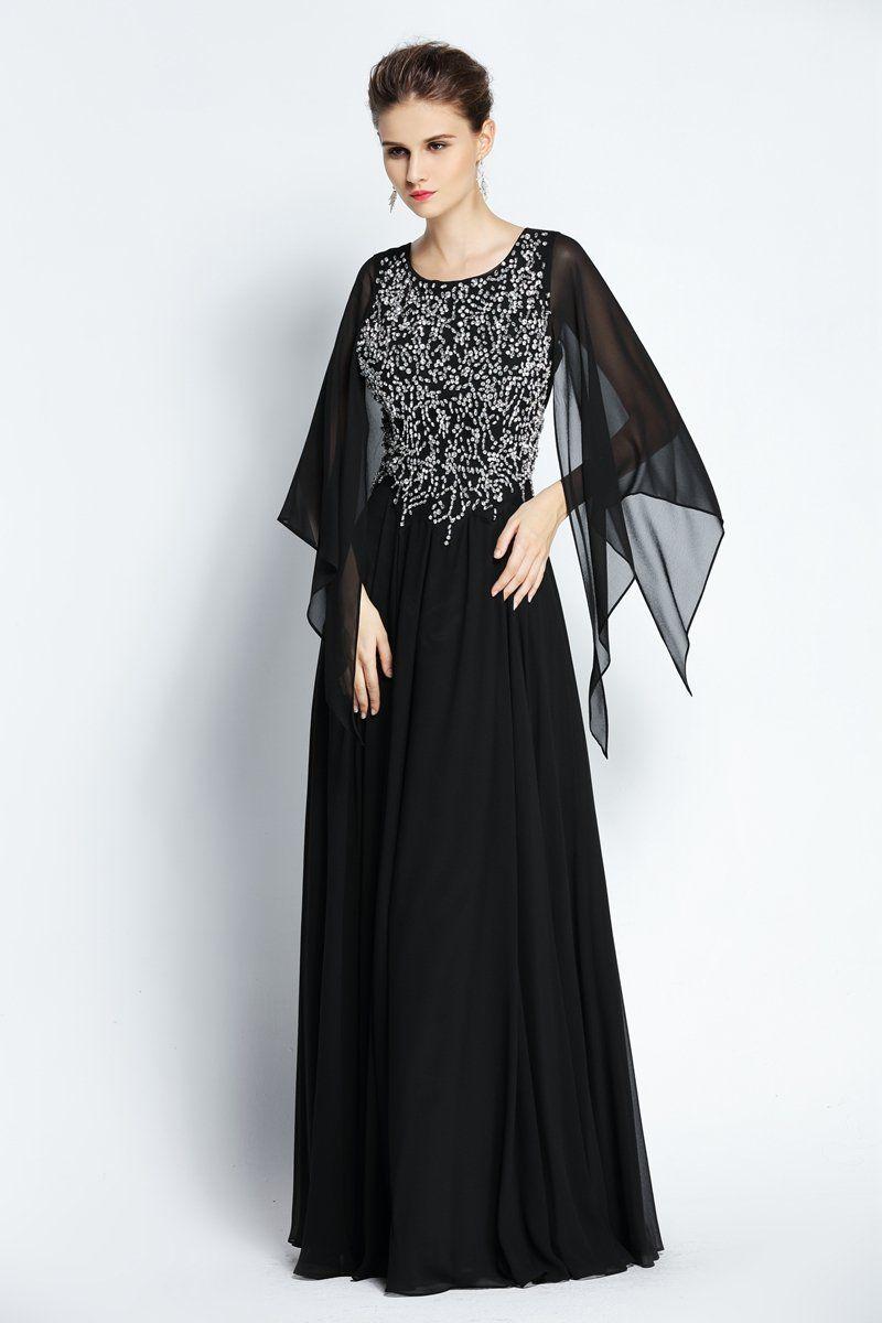 Aline floorlength jewel chiffon long sleeve prom dress with