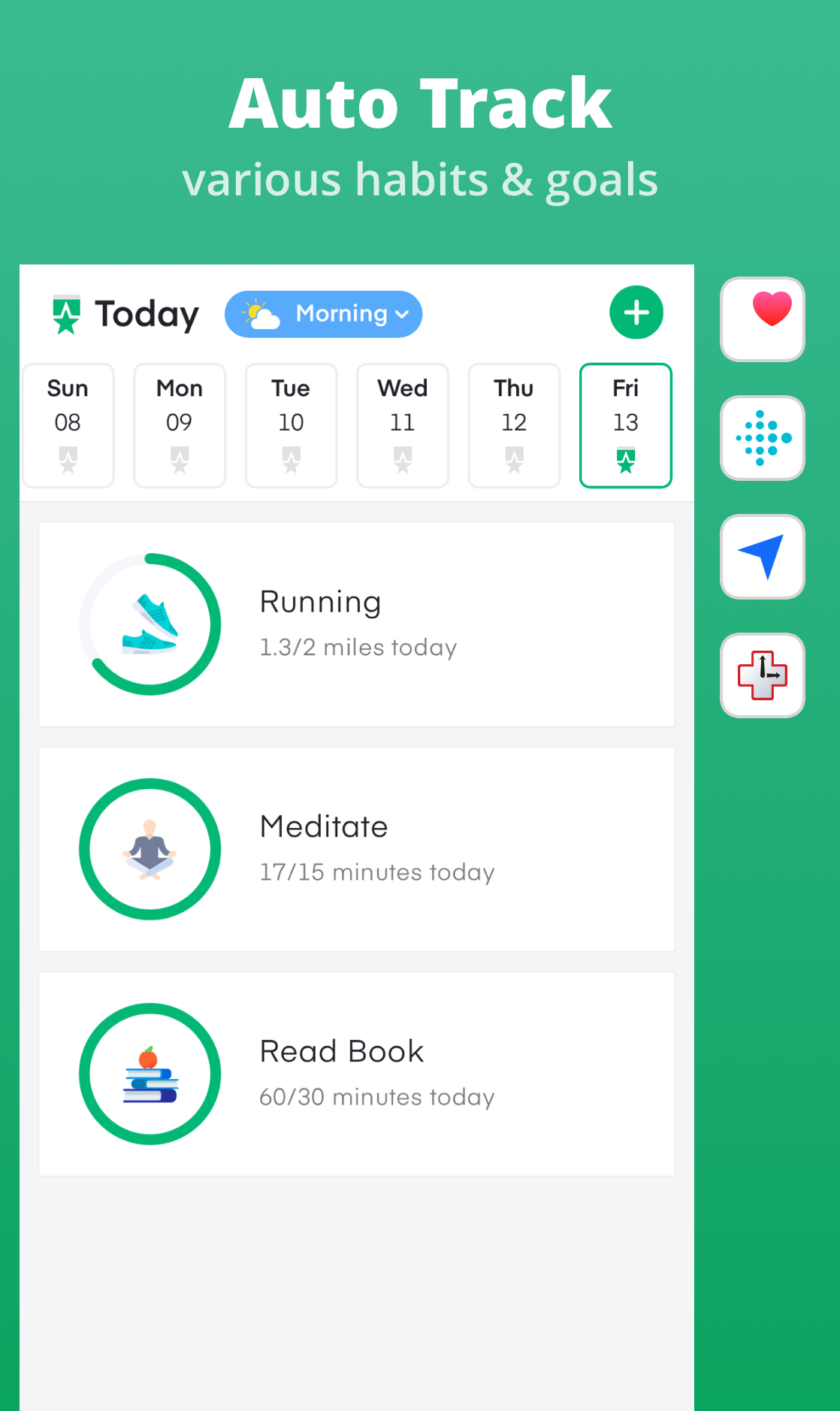 track almost all kinds of habits and goals automatically with nirow