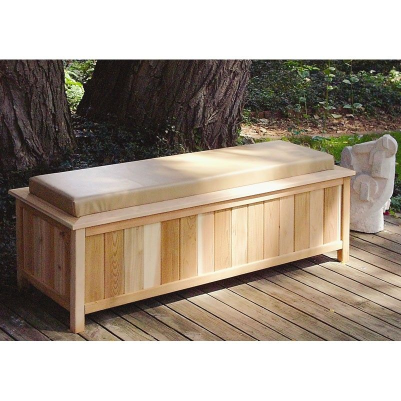 Ordinaire Large Cedar Storage Bench With Cushion Top   2054
