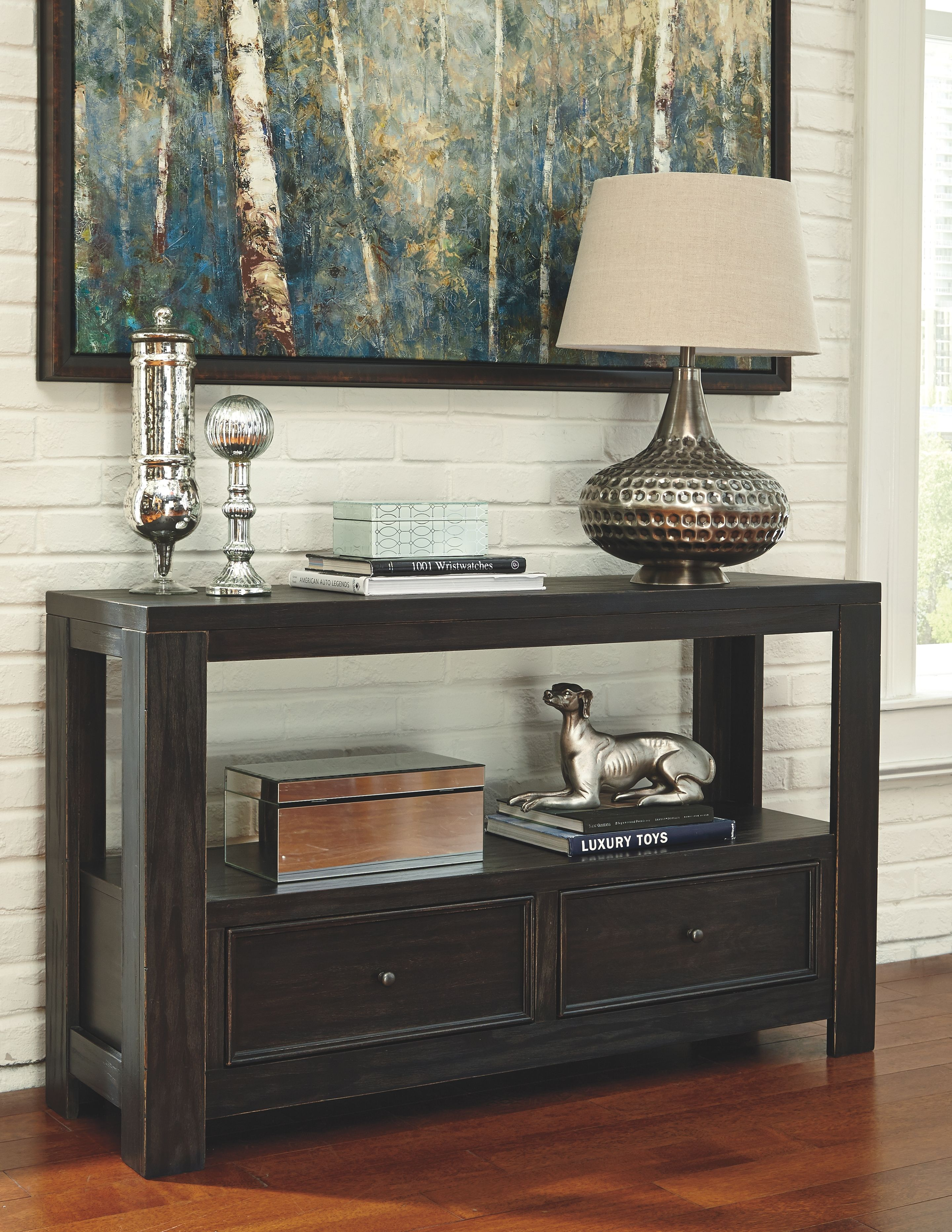 Gavelston Sofa Console Table Rubbed Black In 2020 Black Sofa Table Sofa Table Ashley Furniture Sofas