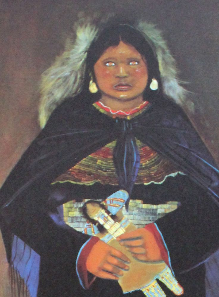"Wells art poster /""Little Girl With Ravens/"" Santa Fe artist C.J"