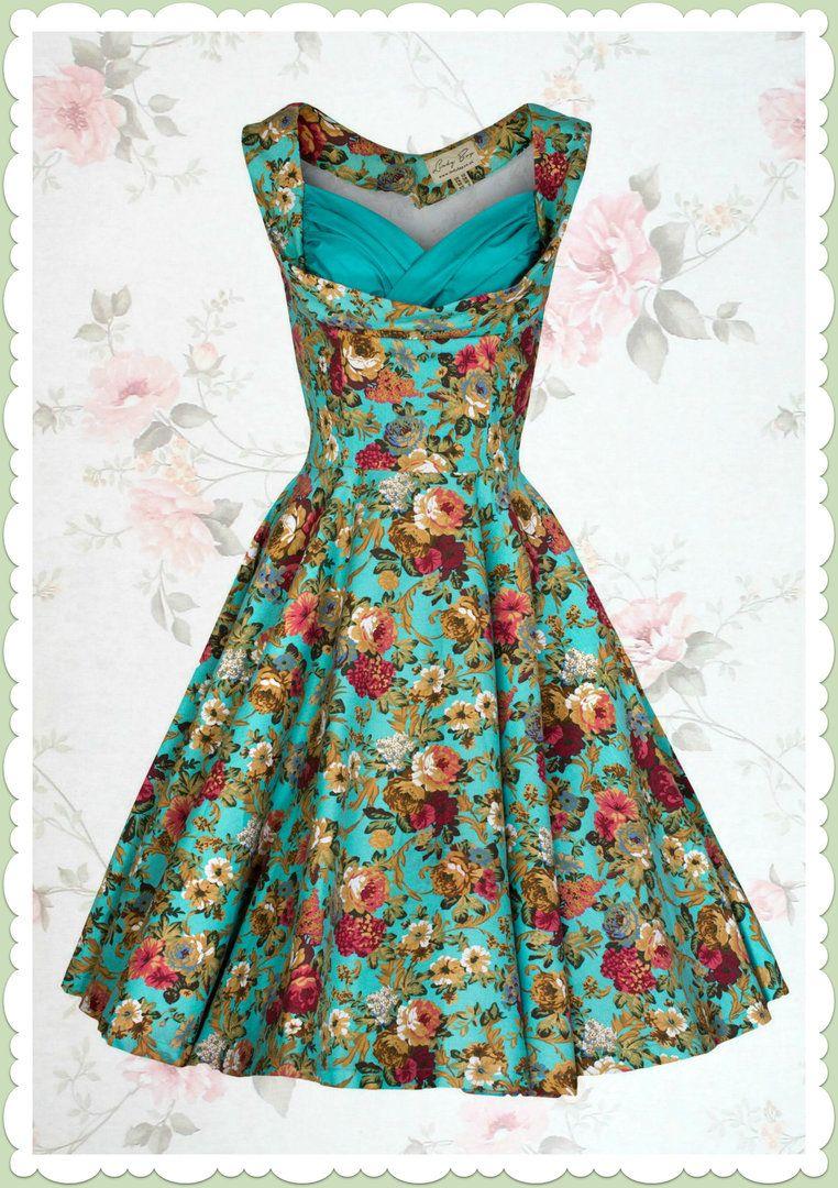 Lindy Bop 50er Jahre Rockabilly Petticoat Blumen Kleid - Ophelia ...
