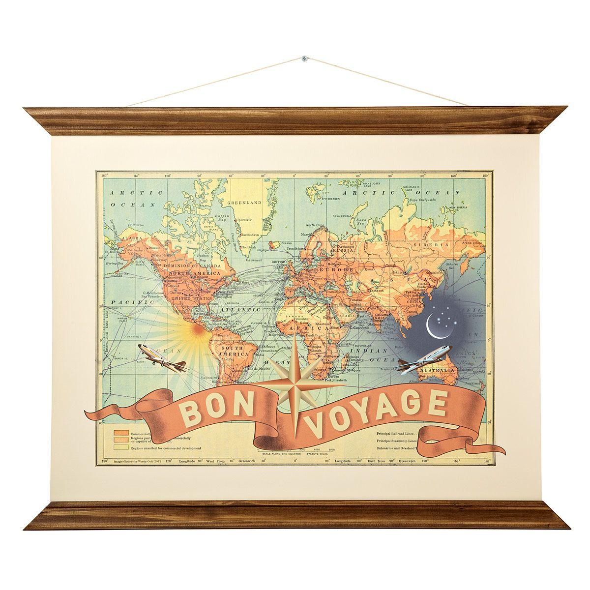 Bon voyage bon voyage vintage maps and voyage bon voyage wendy gold vintage map art print uncommongoods gumiabroncs Gallery