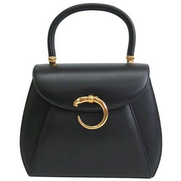 Preowned Cartier Black Leather Gold Emblem Charm Kelly Top Handle Satchel  Flap Bag In Box featuring 201f70aa4