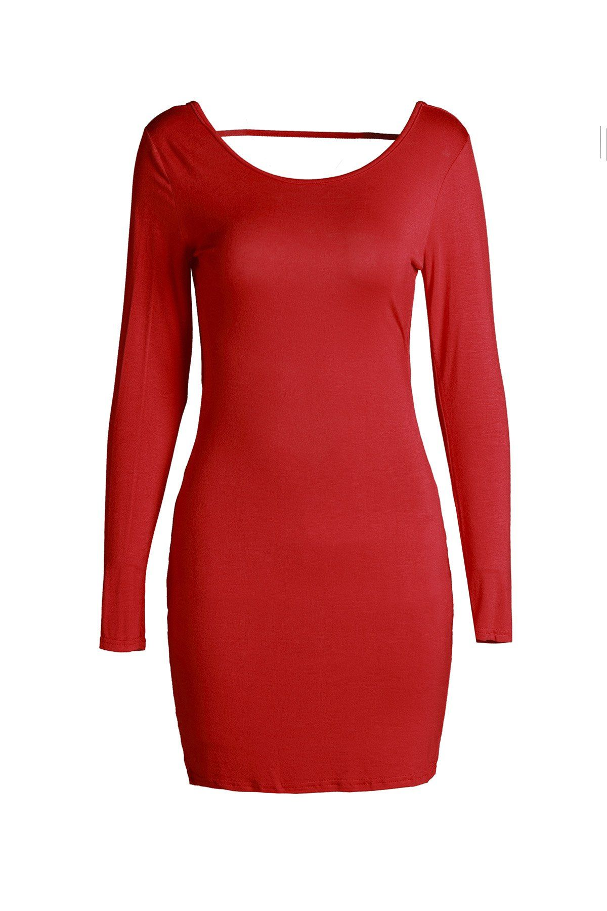 Attractive red long sleeve bodycon backless dress for women