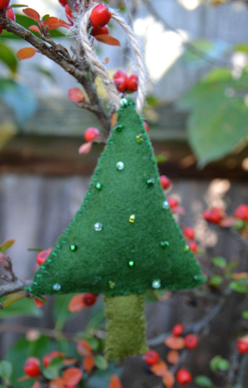 Hanging Felt Beaded Christmas Tree Christmas Tree