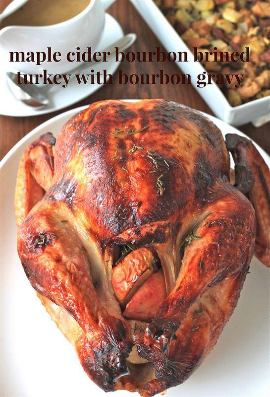 maple cider bourbon brined turkey with bourbon gravy