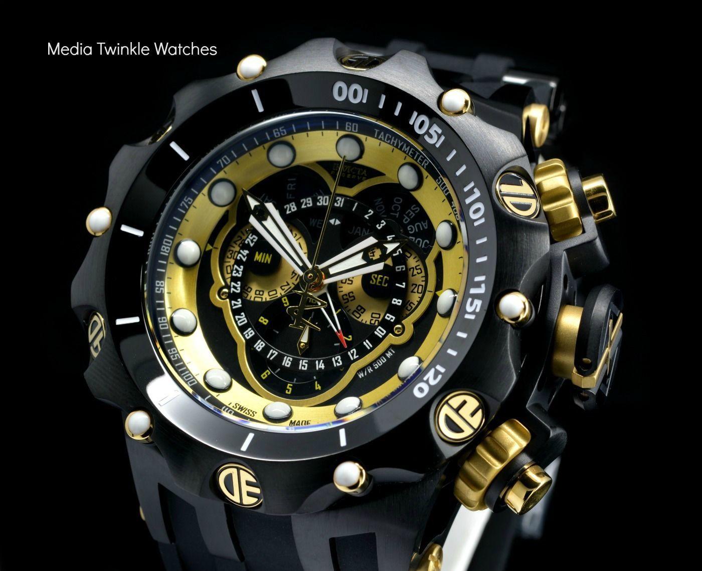 7d3614f34cc Buy Invicta 20430 Reserve 52MM VENOM Hybrid Black & Gold Tone 5040F Swiss  Quartz w/Black POLYURETHANE Watch | Free Shipping