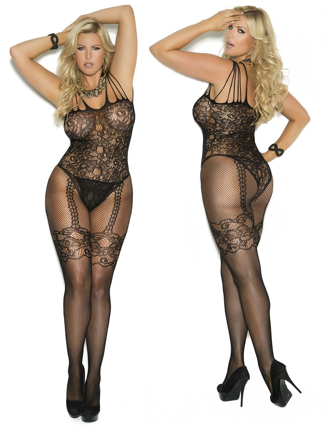 13f2701b646 Plus Size Floral Fishnet Bodystocking Lace Faux Garters Teddy Crotchless  Spandex