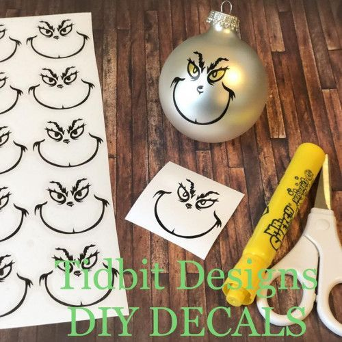 Sheet of 100  Grinch Face Vinyl Decals / D.I.Y / Christmas Ornaments,  #Christmas #Decals #DIY #Face #Grinch #Ornaments #sheet #Vinyl