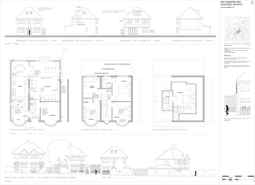 Planning Application Drawing Showing Street Scene, Elevations And Floor  Plans.