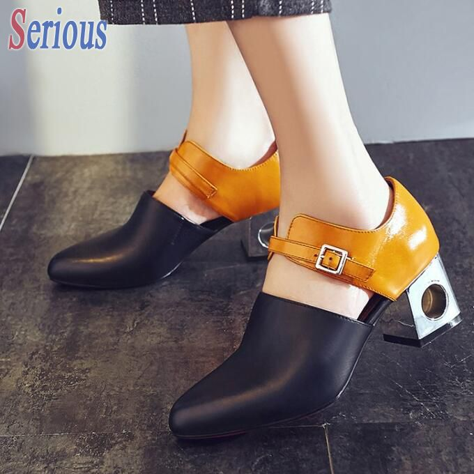2016 Chic Pretty Women Shoes Pointy Toe Buckle Match Color Fashion Shoes Chunky Heel Pumps 6cm Shaped Heel Shoe