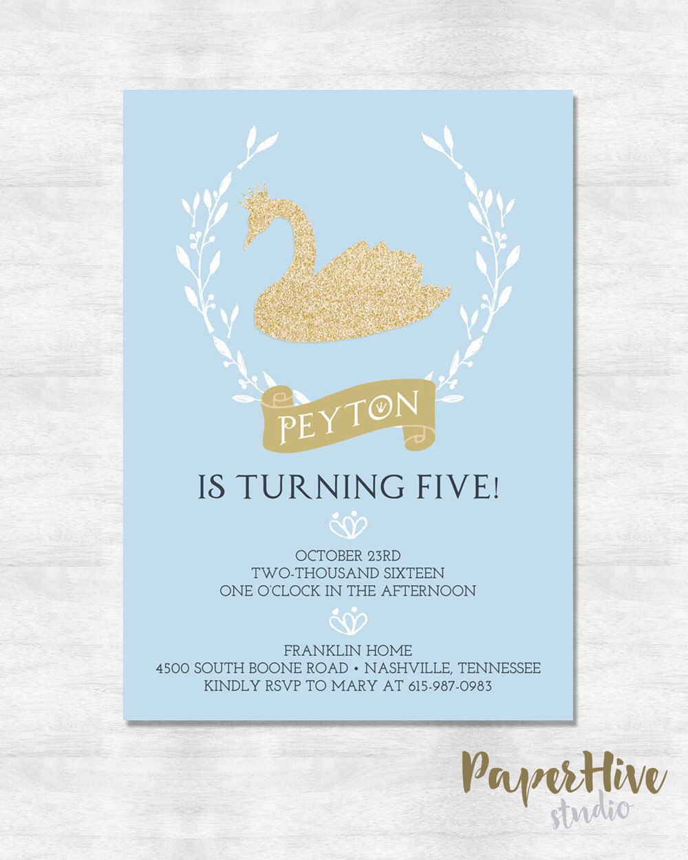 Swan princess birthday party invitations / princess birthday party ...